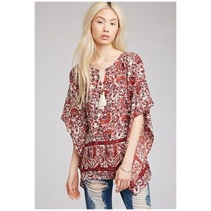Floral Boho Beaded Tie Front Poncho Top